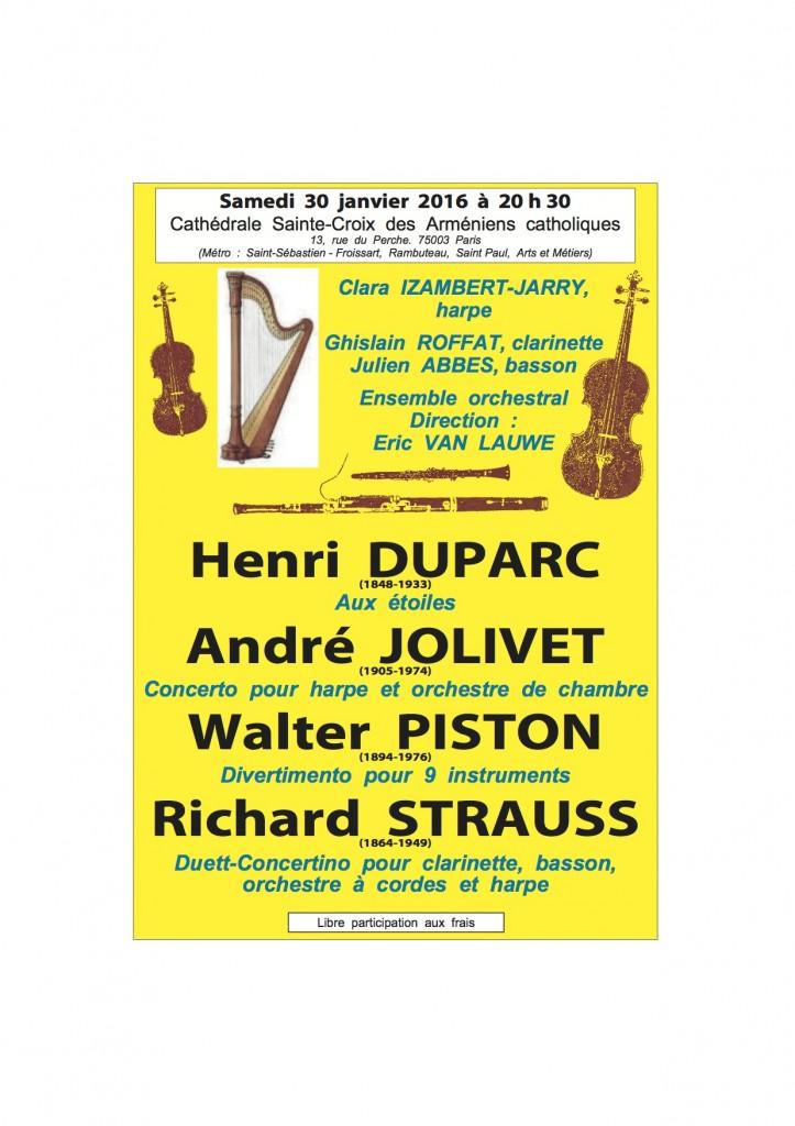 Concert du samedi 30 janvier 2016