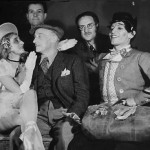 Guignolette smiles at the authors and interpreters of Guignol and Pandore: Suzanne Lorcia, André Dignimont, Louis Fourestier, Serge Lifar and André Jolivet (1944).