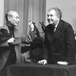 The Japanese composer Tomojiro Ikenouchi greets Jolivet whom he invited to the Tokyo Conservatory which he directed.