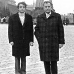 "Jolivet visiting the ""Red Square"" in Moscow with his son Merri (1966)."