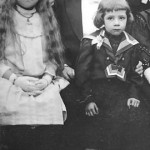 A wedding in the family; young André with his father and sister, Hélène.