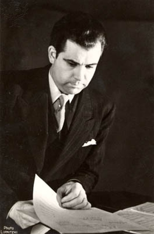 André Jolivet with score French Composer, 1905-1974